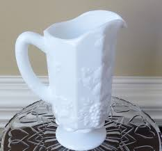 Etsy Vintage Home Decor by Vintage Milk Glass Large Pitcher Harvest Grape Pattern