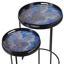 Marble Effect Coffee Tables Of Two Blue Marble Effect Side Tables