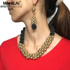 statement necklace store images Manilai handmade statement necklace earrings set golden ball jpg