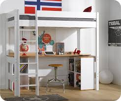 lit mezzanine clay blanc avec bureau