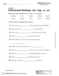 inflectional endings ed ing s and es 2nd 4th grade worksheet