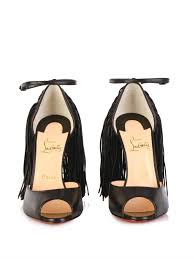 christian louboutin otrot 120mm fringed sandals in black lyst