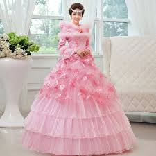 pink wedding dress with lace sleeves top prom quinceanera dresses