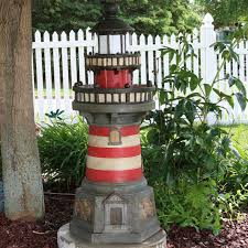 Outdoor Water Fountains With Lights Sunnydaze Traditional Lighthouse Outdoor Water Fountain With Led