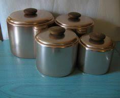 vintage retro set of 5 raco graduated canisters anodised aluminium