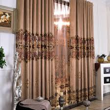 luxurious brown embroidery lace printed curtains buy brown print