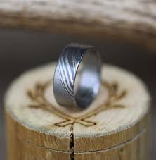 damascus steel wedding band forged stainless steel damascus wedding band staghead