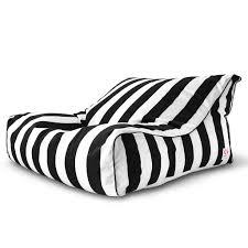 striped outdoor bean bag chaise lounge chair u2013 black white