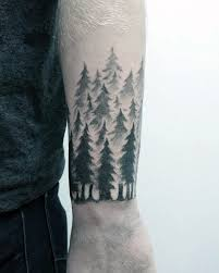 forearm band guys small pine tree forest designs