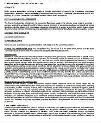 payroll analyst job description payroll specialist sample job