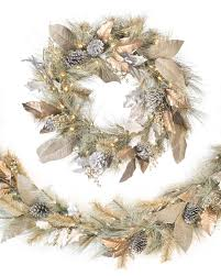 holiday time pre lit 18 christmas garland multi lights vintage sage wreath and garland balsam hill