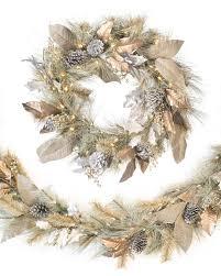 white garland vintage wreath and garland balsam hill