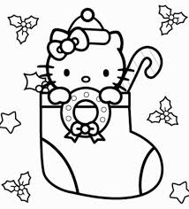 hello kitty christmas coloring page free download