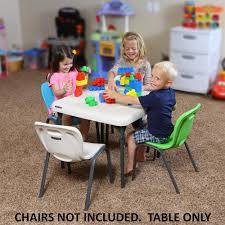 Folding Childrens Table And Chairs Lifetime Children S 24 In W Square Almond Folding Table 80425