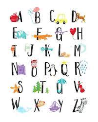 Abc Nursery Decor Wall Alphabet Print Alphabet Nursery Wall Alphabet Poster