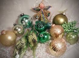 vintage christmas mercury glass ornaments in sage green and