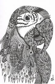 parrot abstract doodle zentangle zendoodle paisley coloring pages