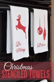 christmas stenciled kitchen towels christmas stencils