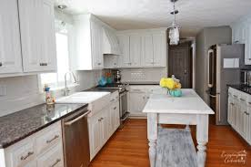 remodelaholic white kitchen overhaul with diy marble island marble kitchen island white everyday enchanting remodelaholic
