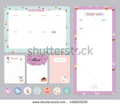cute calendar daily weekly planner template stock vector 446684038