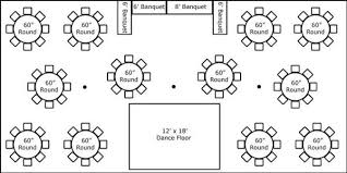 party floor plan 30 x 60 w round tables buffet dance floor super stuff party