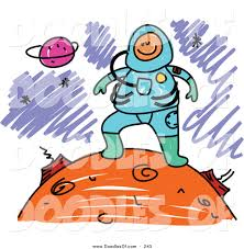 vector clipart of a childs sketch of a happy astronaut on a planet