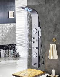rain shower head system ello allo stainless steel shower panel tower system led rainfall