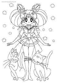 sailor moon color coloring pages kids cartoon