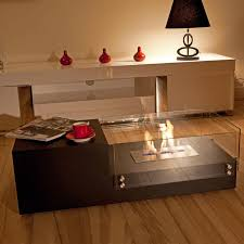 Ethanol Fire Pit by Stylish Tiered Wooden Coffee Table Design With Additional Cubic