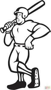 baseball player standing shield coloring page free printable