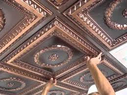 Suspended Ceiling Tile by Faux Tin Drop In Ceiling Tiles Installation Youtube