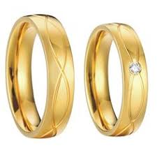 cheap wedding rings sets for him and custom tailor jewelry yellow gold plating titanium