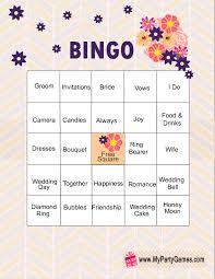 wedding words for bingo free printable bridal shower bingo cards