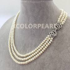 jewelry necklace pearl images Lovely good qualitythree strand 6 7mm white semiround natural jpg