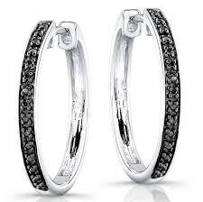 black diamond hoop earrings silver black diamond hoop earrings