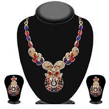 necklace set blue stone images Shop soha fashion blue stone floral design necklace set jpg
