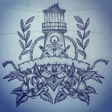 lighthouse anchor roses tattoo sketch by ranz pinterest