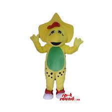 cute yellow bj barney cartoon character mascot costume spotsound