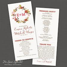 Making Wedding Programs Printable Wedding Program Floral