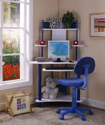 Kid Desk L Brand Blue Finish Corner Workstation