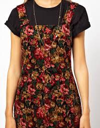 asos asos petite exclusive pinafore dress in floral cord lyst