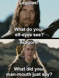 Aragorn Meme - gimli i ve killed 2 already legolas i m on 17 home facebook