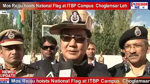 Excelsior Flag Mos Rejiju Hoists National Flag At Itbp Campus Choglamsar Leh
