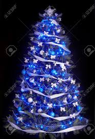 trees with blue lights lights decoration