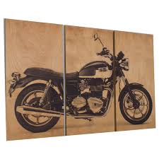 motorcycle home decor vintage style triump bonneville motorcycle screen print wood