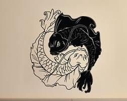 yin yang fish decal etsy