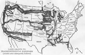 usa land grants to transcontinental railroads sketch map 1942