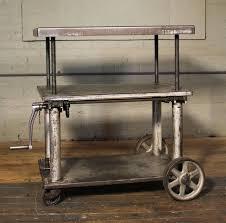 rolling table lift cart vintage industrial adjustable steel