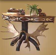 rustic sofa table moose antler sofa table adirondack style