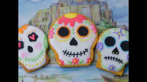 Decorated Halloween Sugar Cookies by Mexican Sugar Skull Cookie Tutorial Youtube